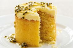 Home-cooked food delivers a sense of comfort that lasts a lifetime. Return to those favourite dishes we grew up with, like this coconut and passionfruit cake. Just Desserts, Delicious Desserts, Yummy Food, Gourmet Desserts, Mini Desserts, Plated Desserts, Mini Tortillas, Sweet Recipes, Cake Recipes