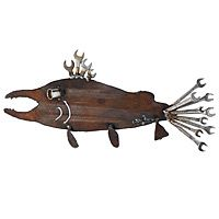 SOCKET EYE SALMON|UncommonGoodsWhat A Catch! Let your home decor swim against mainstream touches with Fred Conlon's charmingly prickly Socket Eye Salmon sculpture. Handmade from recycled steel and reclaimed tools,