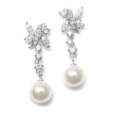 Olivier Laudus Macie Pearl And CZ Bridal Earrings