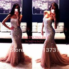 De luxe en cristal perles des robes de bal amie champagne. 2014 longues robes de soirée bo3571