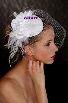 BRIDAL HAT, wedding hat, beautifull headpiece, fascinator. Birdcage veil and fantastic flowers. Lovely. $129.00, via Etsy.