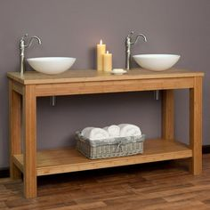 """60"""" Michele Bamboo Double Vessel Sink Console Vanity - Bathroom Made of solid bamboo. Includes vanity base and bamboo counter top. Vanity dimensions: 60-1/8"""" W x 21-1/8"""" D x 29"""" H (± 1/2""""). Lower shelf:59-3/8"""" L x 19-1/2"""" W (front to back) (± 1/2"""")."""