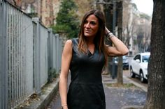 Classic little black leather dress look. Get this style! #fashion #leatherdress #leather #designerfashion