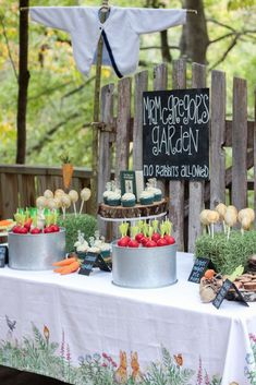 Mr. McGregor's Garden Sweet Table from a Peter Rabbit Birthday Party via Kara's Party Ideas | KarasPartyIdeas.com | The Place for All Things Party! (9)