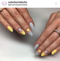 Classy Nails, Cute Nails, Pretty Nails, Minimalist Nails, Yellow Nails, Pastel Nails, French Nails, Violet Pastel, Girls Nail Designs