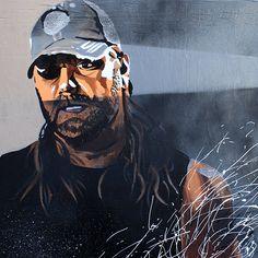 "'Cowboy' James Storm l Acrylic and spray on 24"" x 24"" wood"