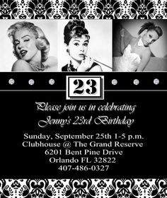 Old Hollywood Theme Party invite. i would put the birthday girl's pic in the middle, though.