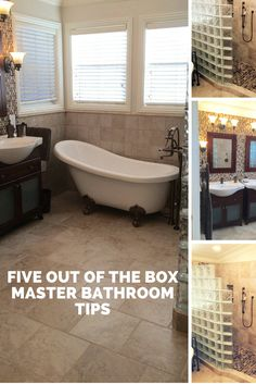 Eliminate straight lines and think curves in your bathroom remodel. Curved freestanding tub and a curved glass block shower wall - http://blog.innovatebuildingsolutions.com/2015/10/02/5-box-remodeling-tips-master-bathroom/