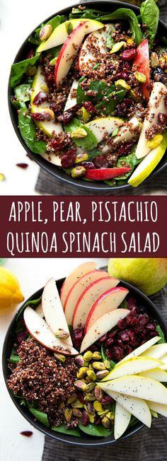 Delicious and simple Fall Salad — Apple, Pear, Pistachio Quinoa Spinach Salad great for Thanksgiving!: Delicious and simple Fall Salad — Apple, Pear, Pistachio Quinoa Spinach Salad great for Thanksgiving! Healthy Salad Recipes, Healthy Snacks, Vegetarian Recipes, Healthy Eating, Spinach Recipes, Apple Recipes, Quinoa Spinach, Quinoa Salad, Pear Salad