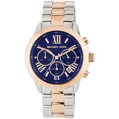 Michael Michael Kors Jet Set 40mm Two-Tone Chronograph Bracelet Watch (¥15,455) ❤ liked on Polyvore featuring jewelry, watches, blue, stainless steel watch bracelet, bracelet watch, two-tone watches, stainless steel watches and stainless steel bracelet watch