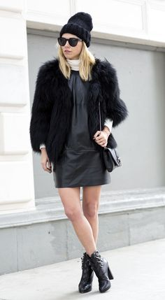 The amazing @alwaysjudging in the Front Leather Shift Dress in Black from 'The Beginning'
