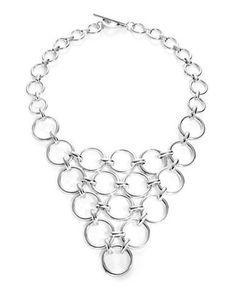 Trina Turk Silver Lining Round Linked Bib Necklace Women's Silver
