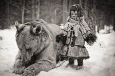 Vintage Photograph, Bear with child.
