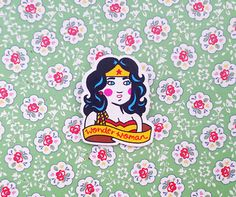 Wonder Woman DC Comics Shrink Plastic Brooch Made To by happyrose