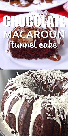 CHOCOLATE MACAROON TUNNEL CAKE Rich chocolate bundt cake with a coconut tunnel inside. Drizzled with both chocolate and vanilla icing. Just like that age old mix time forgot. Chocolate Bunt Cake, Chocolate Macaroons, Homemade Chocolate, Chocolate Recipes, Chocolate Macaroon Bundt Cake Recipe, Chocolate Chips, Chocolate Tarts, Food Cakes, Cupcake Cakes