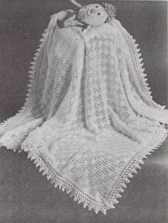 Tic Tac Toe Shawl  1950s Knit Baby Afghan Pattern  by TheStarShop, $3.75