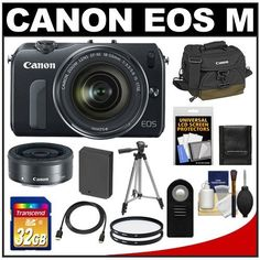 Canon EOS M Digital Camera Body with EF-M 18-55mm STM Lens with EF-M 22mm f/2 Lens + 32GB Card + Battery + Canon Case + Tripod + 2 Filters + Accessory Kit by Canon. $1047.95. Kit includes:♦ 1) Canon EOS M Digital Camera Body with EF-M 18-55mm STM Lens♦ 2) Canon EF-M 22mm f/2 STM Pancake Lens♦ 3) Canon 100EG Digital SLR Camera Case♦ 4) Transcend 32GB SecureDigital Class 10 (SDHC) Ultra-High-Speed Card♦ 5) Spare LP-E12 Battery for Canon♦ 6) Vivitar 52mm UV Glass Fil...