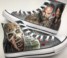 54bf0c3a0fe1 Items similar to Custom Hand Painted Walking Dead Inspired Converse Hi Tops Shoes  Sneakers All sizes.