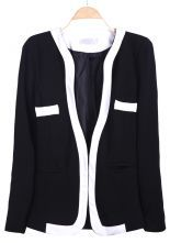 Black Long Sleeve Contrast Trims Pockets Suit - great with a T, jeans and heels ~ Rougestyling