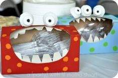 "Monster birthday party ... old tissue box turned into plastic wear ""monster"" holder"