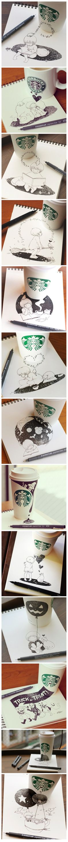 Lovely doodles w Starbucks cups by Japanese artist Tomoko Shintani.