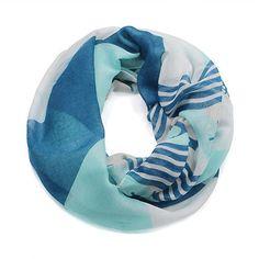 Nantucket Striped Infinity Anchor Scarf by StyleStudiobyLuLu