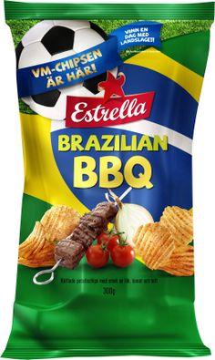 Estrella Brazilian BBQ chips PD Brazilian Bbq, Chip Packaging, Snack Recipes, Snacks, Breakfast Nook, Snack Mix Recipes, Appetizer Recipes, Appetizers, Treats
