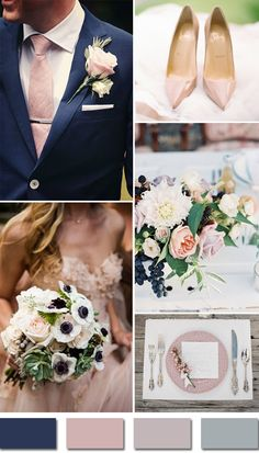 navy blue and blush pink elegant fall wedding colors 2015 trends