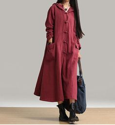 women loose dress linen dress long sleeve dress by customsize, $89.00