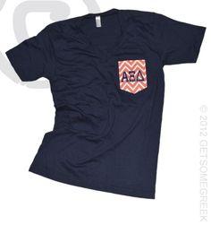 Alpha Xi Delta Love Crest Vneck Front! Custom Chevron pocket t!