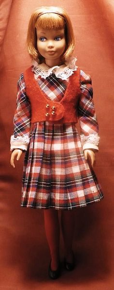 1960's Skipper doll wearing a back-to-school plaid.