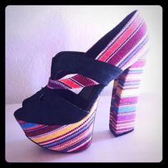 Tribal Multi Color Jean Tribal Platform Heels.