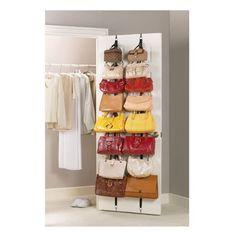 Over The Door Hanging Purse Rack by Jokari, http://www.amazon.com/dp/B000NBV9CO/ref=cm_sw_r_pi_dp_VVuarb0KSJY23