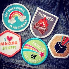 "gah!!! my ""creative club"" merit badges are finally ready! come and get 'em!"