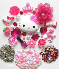 3d753e741 Hell Kitty Cabochon DIY Pink Bow Sweet Ice-cream Crown Parasol Rhinestone Flat-back  Resin Deco Kit