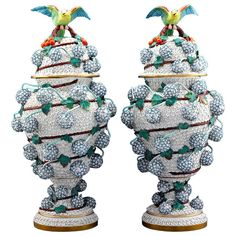 Snowball Porcelain Vases by Meissen | From a unique collection of antique and modern vases at http://www.1stdibs.com/furniture/dining-entertaining/vases/