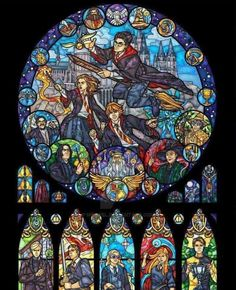 Harry Potter Stained Glass Illustration by nenuiel on DeviantArt Harry Potter 6, Harry Potter Universal, Blond Amsterdam, Batman The Dark Knight, Batman Logo, Geek Culture, The Witcher, Fan Art, Jedi Ritter
