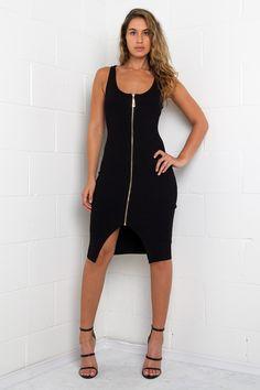 Zip Up Ribbed Dress
