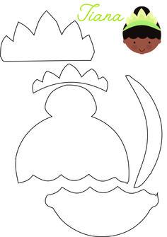 DYI :: Princess Tiana Felt -The Princess and the Frog -  Molde Princessa Tiana - A Princesa e o Sapo - Feltro #disneyprincess #feltro #Felt #DIY #Party #Tiana