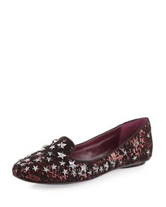 Infini Star-Studded Smoking Slipper, Bordeaux/Black by Ash at Neiman Marcus Last Call. ~ Interesting