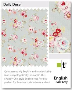 Take a look at our english rose curtain fabric grey, Great quality and affordable prices at Terrys Fabrics Rose Curtains, Grey Curtains, Curtain Fabric, English Roses, Gray Curtains, Grey Check Curtains