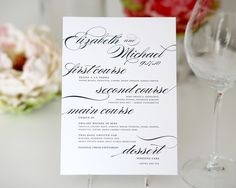Dinner Menus for your Wedding or Event by shineinvitations
