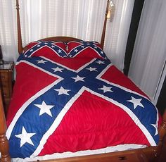 3 PIECE CONFEDERATE FLAG COMFORTER SET - FULL QUEEN REBEL BEDDING 2 PILLOW SHAMS