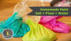 Make your own squeezable homemade paint from salt, flour, and water. Add a little food coloring or liquid watercolors to create the color you desire. Easy Paint Recipe, Painting Recipe, Salt Painting, Painting For Kids, Diy Painting, Rock Painting, Crafts For Kids To Make, Projects For Kids, Fun Crafts