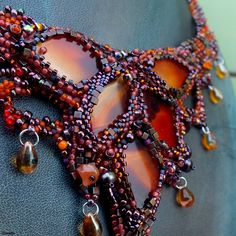 """Brisingamen"" necklace - agate ""leaves"", TOHO, Miyuki, Matubo and Preciosa seed beads, garnet, carnelian, freshwater pearls, pressed glass beads"