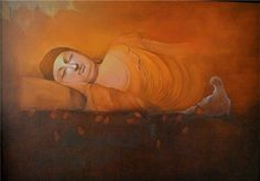 """Sleeping Buddha"" by Artist Parshvanath V. Nandre http://www.colourentice.com/art…/Parshvanath%20V.-Nandre.php For more works visit us at www.colourentice.com or for assistance call us at 9920042242 ‪#‎Art‬ ‪#‎Paintings‬ ‪#‎homedecor‬ ‪#‎artonsale‬ ‪#‎Buddhapaintings‬"