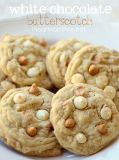 These are my favorite cookies EVER!! White chocolate  butterscotch chip cookies. Mmmm!