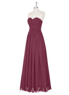 AZAZIE SHILOH. Style Shiloh by Azazie is a floor-length A-line/princess bridesmaid dress in a simple chiffon. #Mulberry #Bridesmaid #Wedding #CustomDresses #AZAZIE