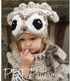 Crochet PATTERNThe Odette Owl Set Toddler Child by Thevelvetacorn