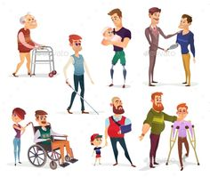 Set of Vector Cartoon Illustrations of People